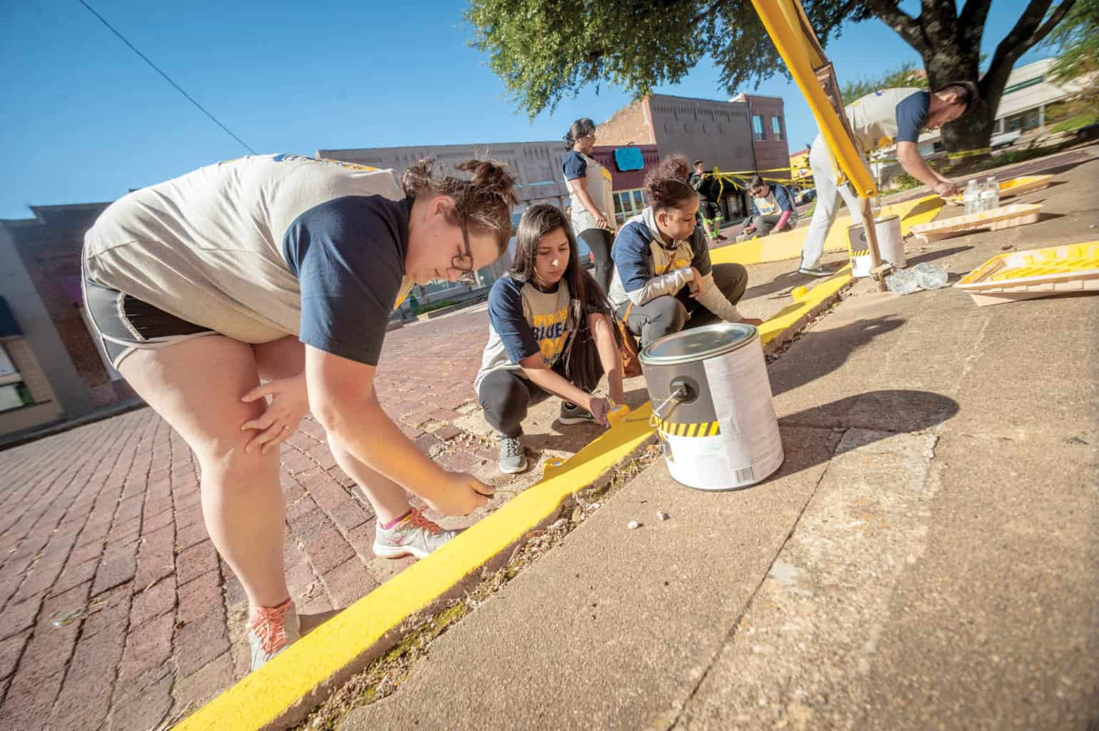 Students panting footpath