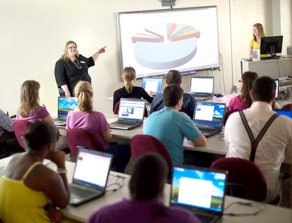 Professor explaining to student in Piechart presentation