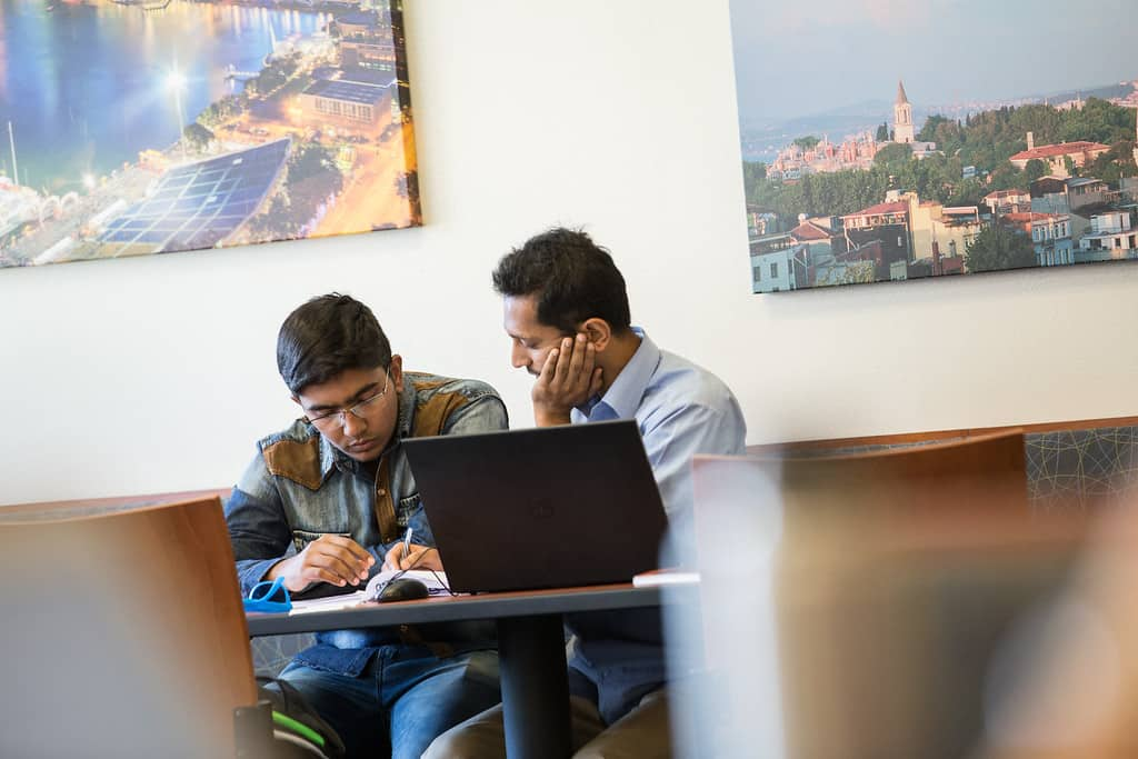 student studying together in a relaxed environment
