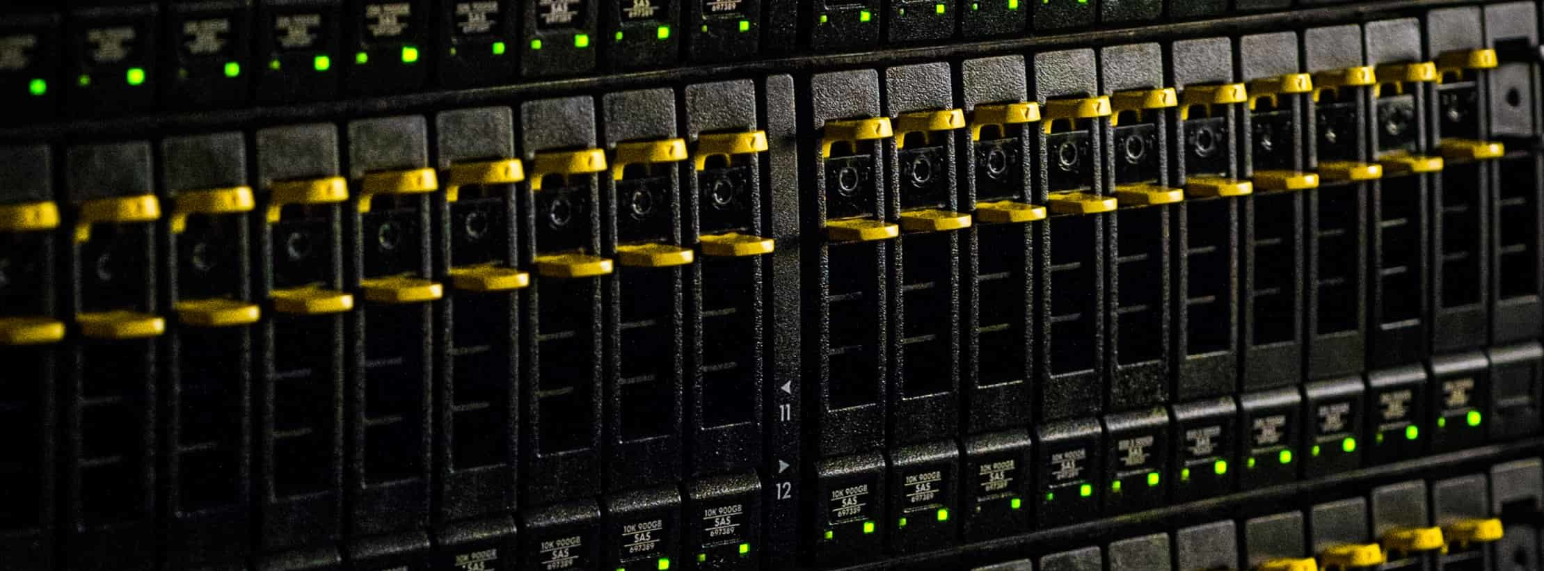 Close-up of a server rack