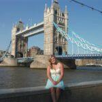 student behind tower bridge