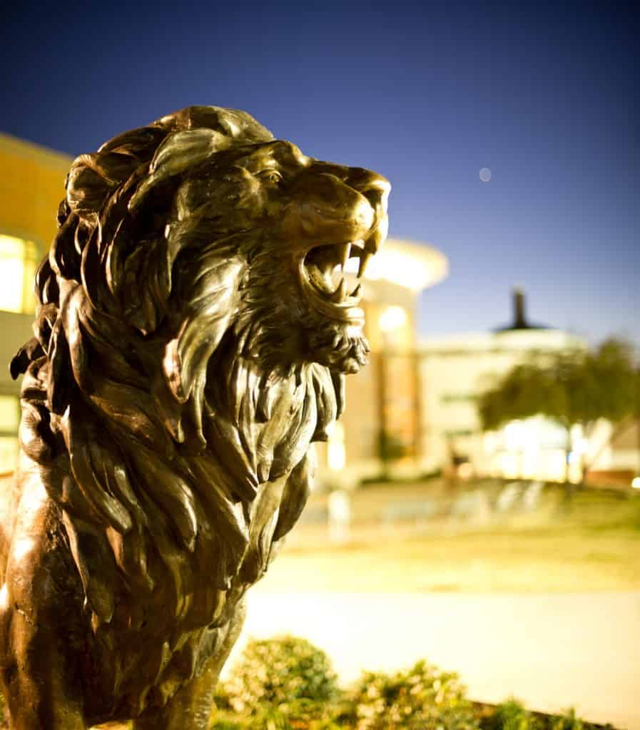 lion statue on campus.