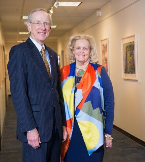 Jo Ann Durham with A&M-Commerce President Dan Jones
