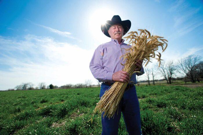 DA Ben Scholz holding wheat
