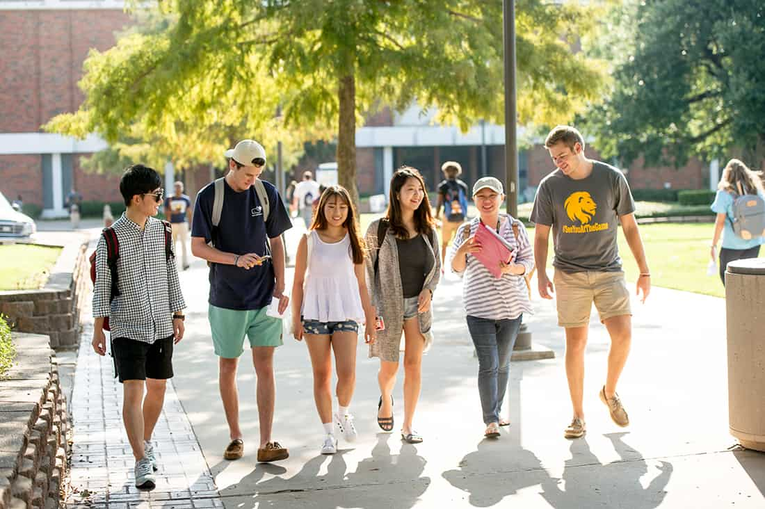 Students walking together outside