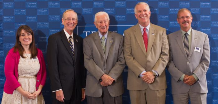 Andrea Weddle, President Dan R. Jones, Congressman Ralph Hall, Randy VanDeven, Greg Mitchell