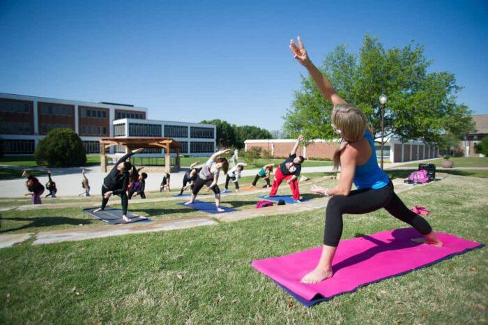 students yoga class