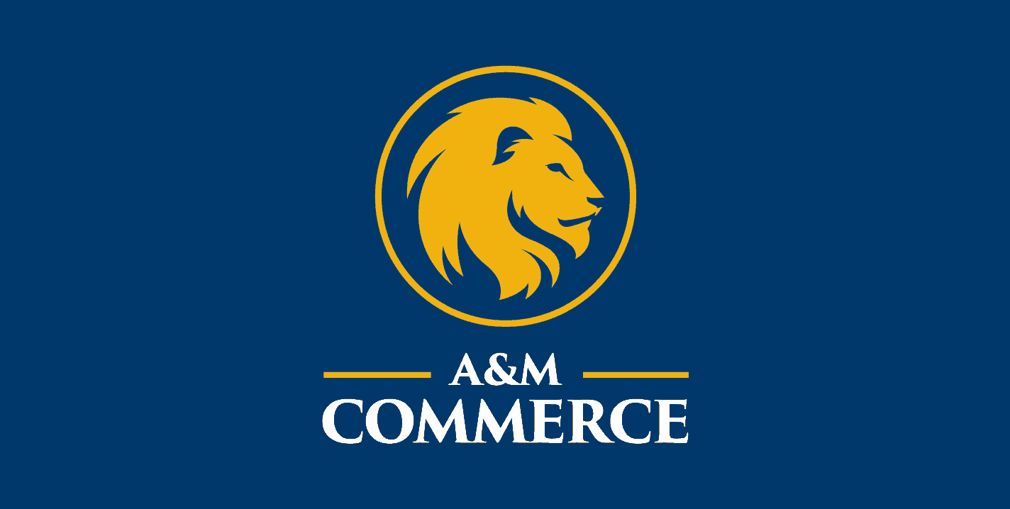 A&M-Commerce-V-Reversed-ClearSpace-Blue
