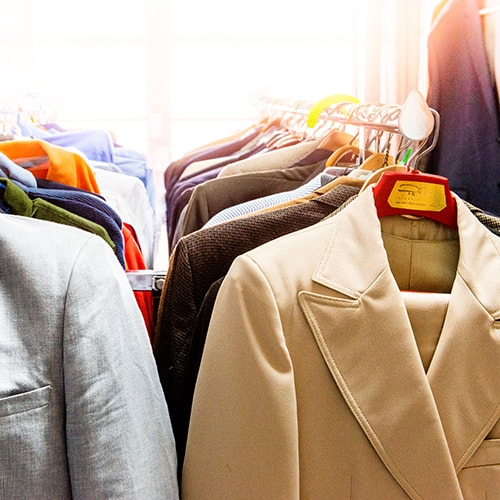 Professional clothes offered to students at the Lion Wardrobe.