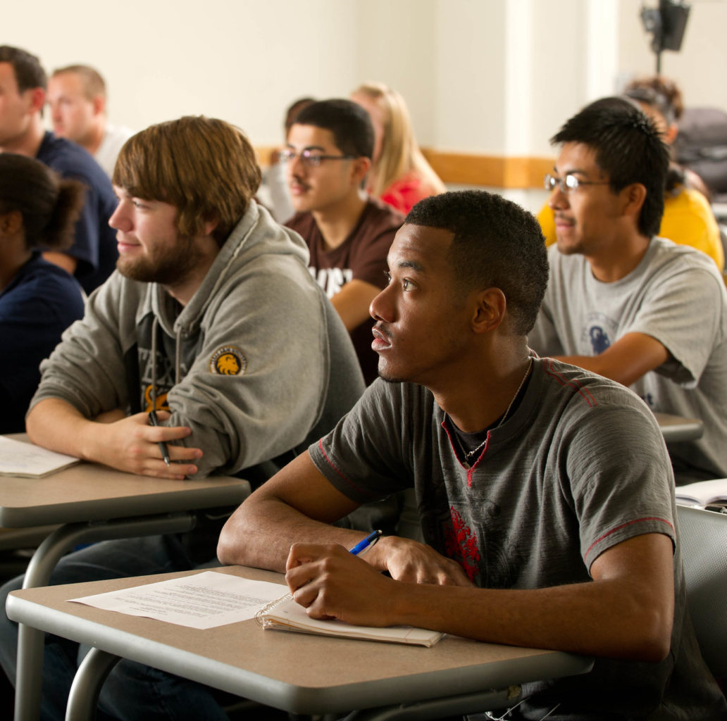 Criminal justice students in a classroom.