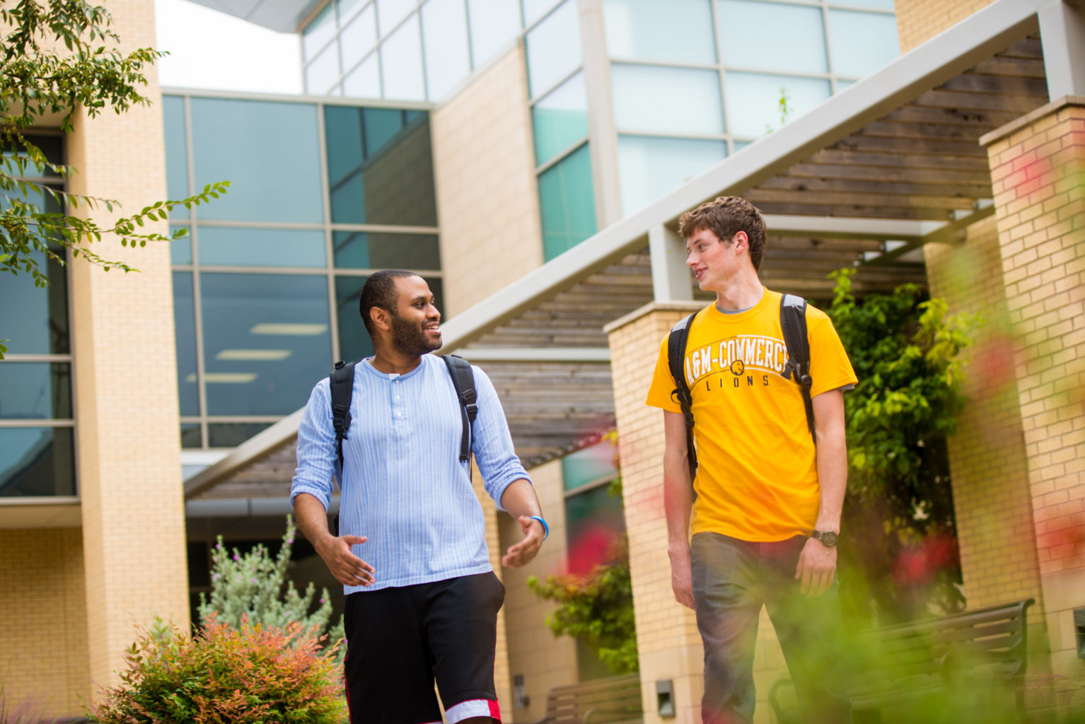 Two students walking and talking.