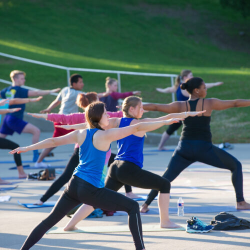 Group of students during a yoga session outside.