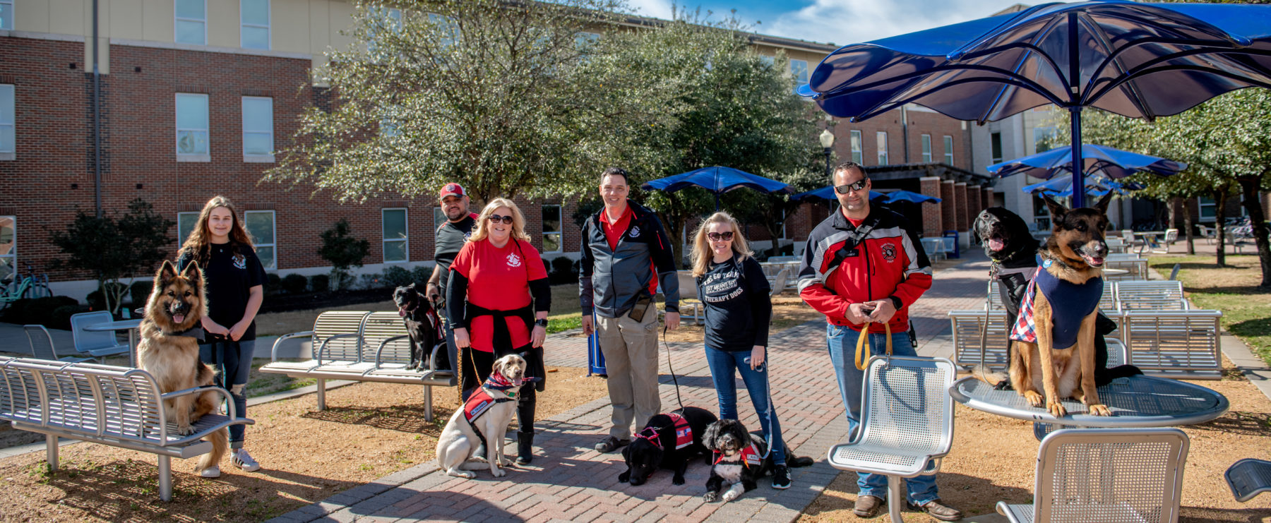 Members of the Go Team therapy dog group visited the A&M-Commerce campus last month