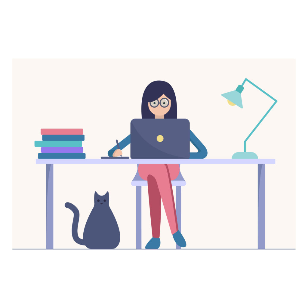 Woman work on the laptop vector illustration. Young dark haired character sitting at the desk and working on the computer using tablet. Cat is hanging around. Flat style isolated on nude background.