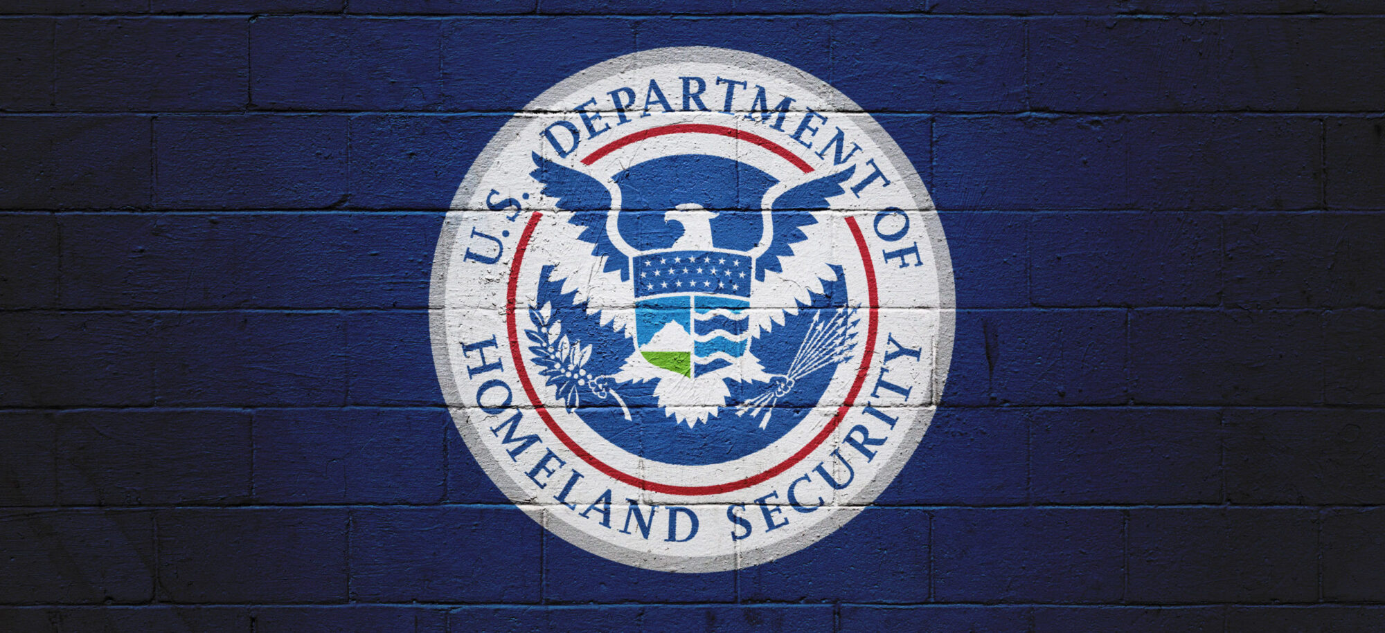 DHS Flag painted on a wall.