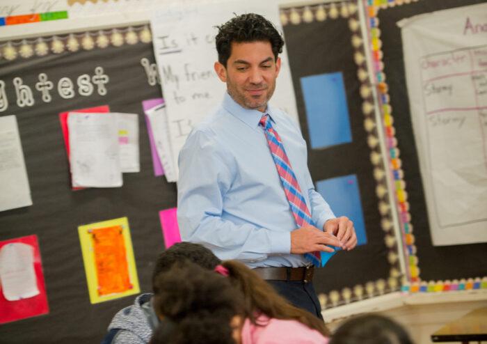 A teacher inside classroom.