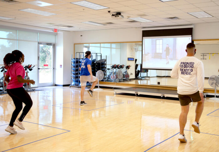 Members during a fitness class at the Morris Recreation Center.