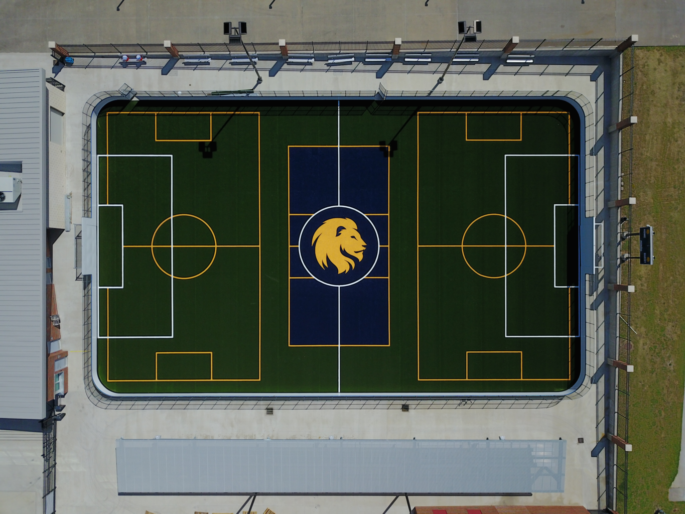 Skyview of the Morris Recreation Center's field.