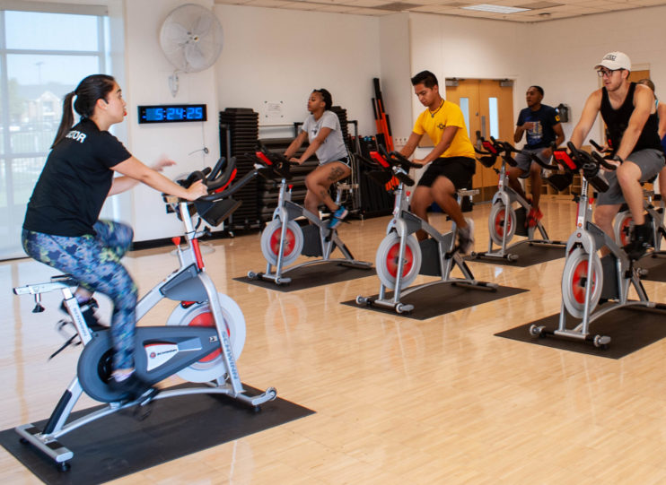 Cycling class at the Morris Recreation Center.