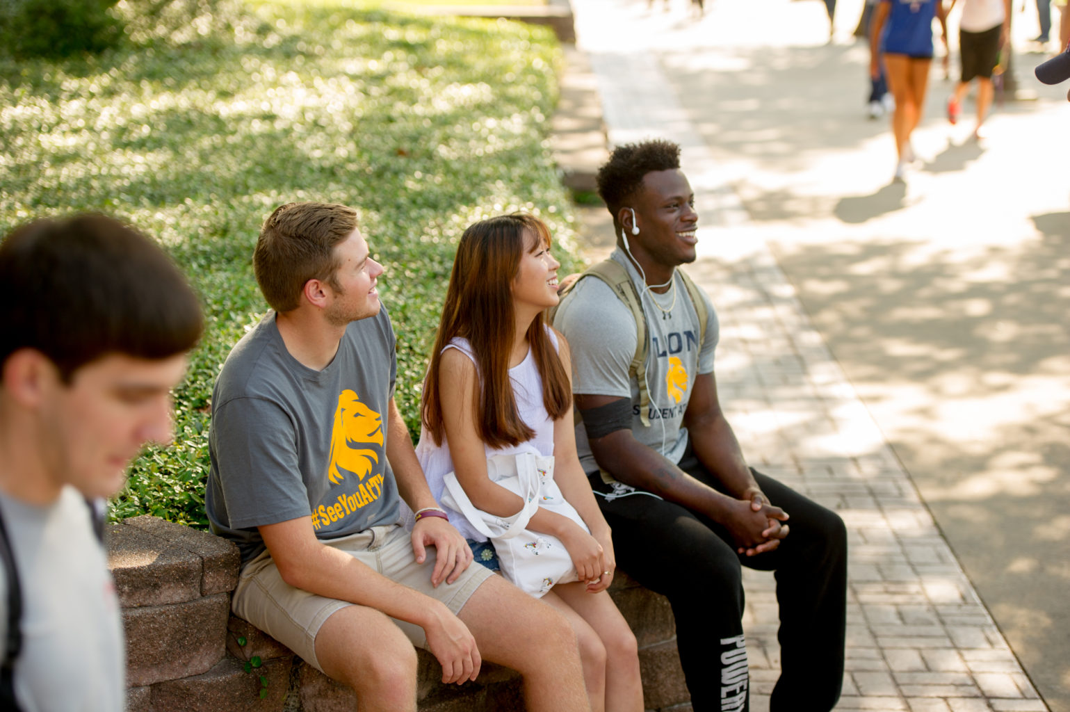 Group of students sitting on campus.