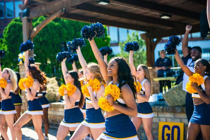 Cheerleaders performing on campus.