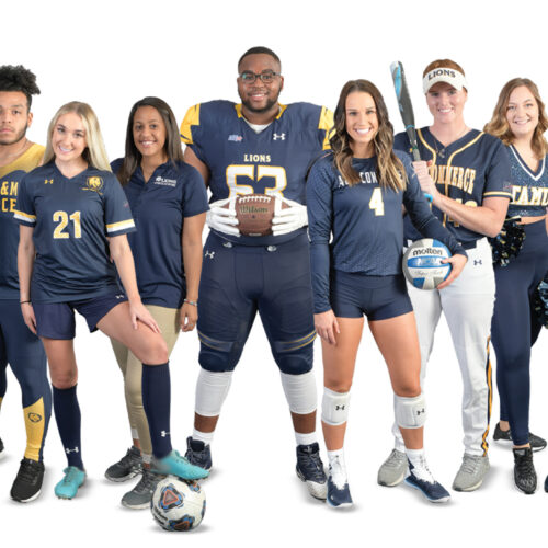 A picture with a member of each Lion Athletics team.