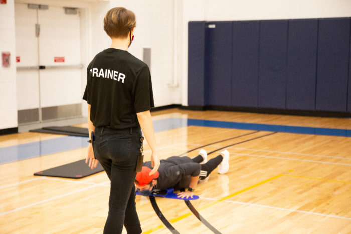 Personal trainer during a fitness session.