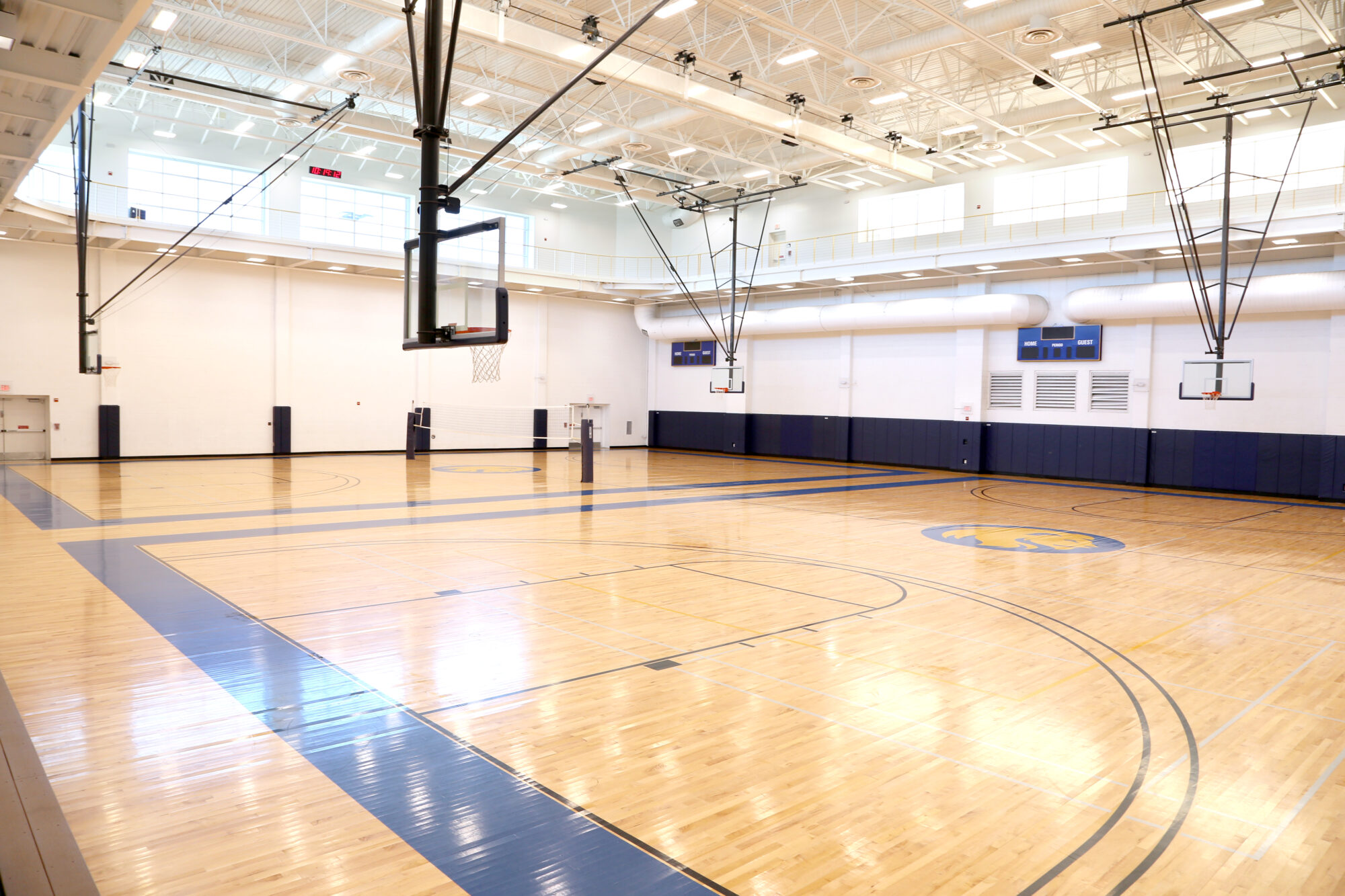 Indoor basketball court at the Morris Recreation Center.
