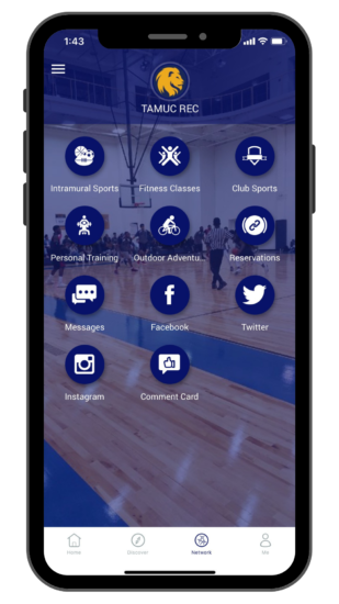 TAMUC Rec App Home page on phone.