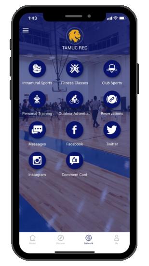TAMUC Rec app on a mobile screen.