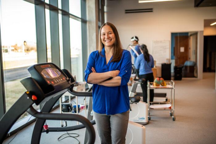 Vipa Bernhardt inside the new health performance lab.