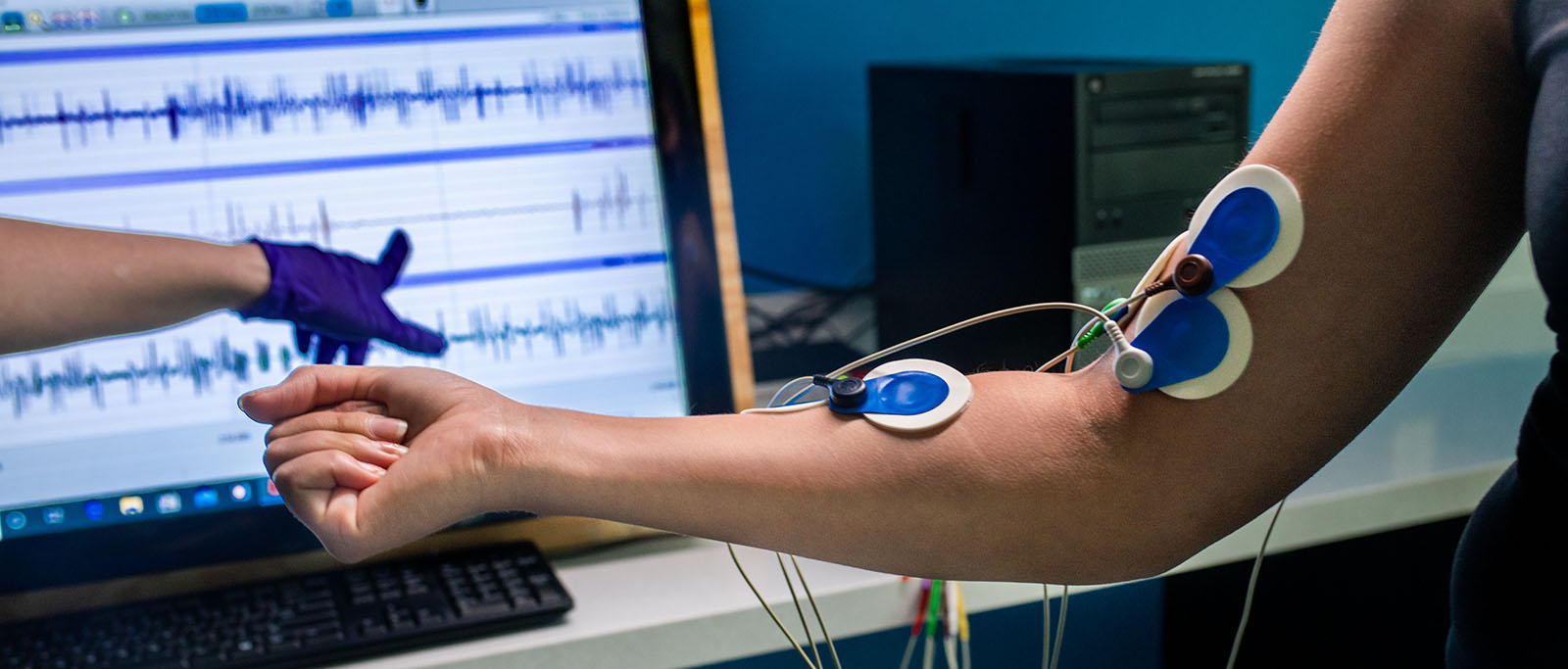Health Performance machine attached to an athlete arm.