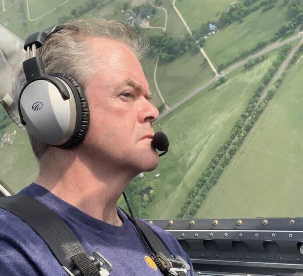 Matt Wood flying a plane.