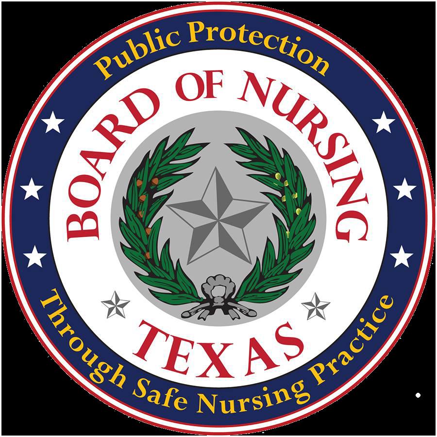 Texas Board of Nursing logo.