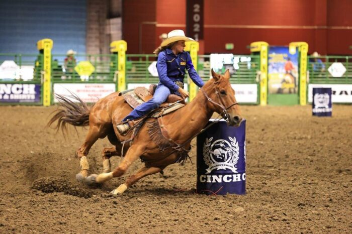 Alyssa Lockhart in the barrel racing competition