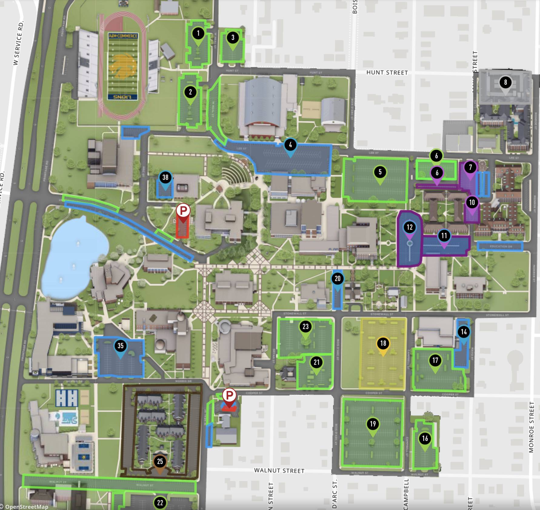 Campus map with parking lots outlined.