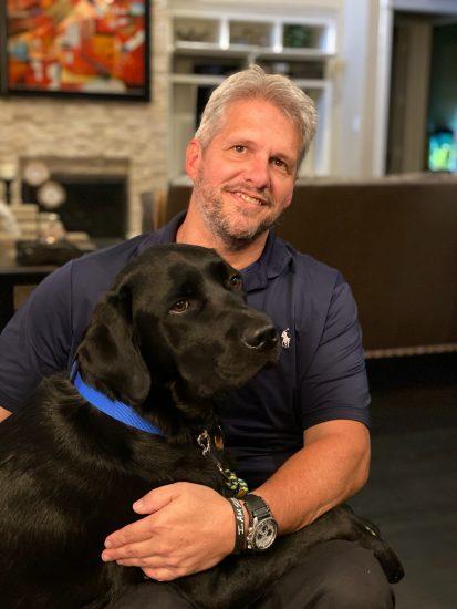 Jason Morgan and Service Dog Yago